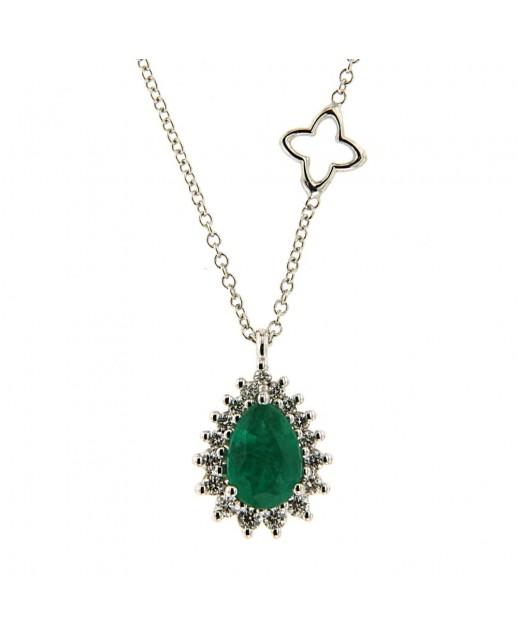 Girocollo con Smeraldo 0,63 ct e diamanti
