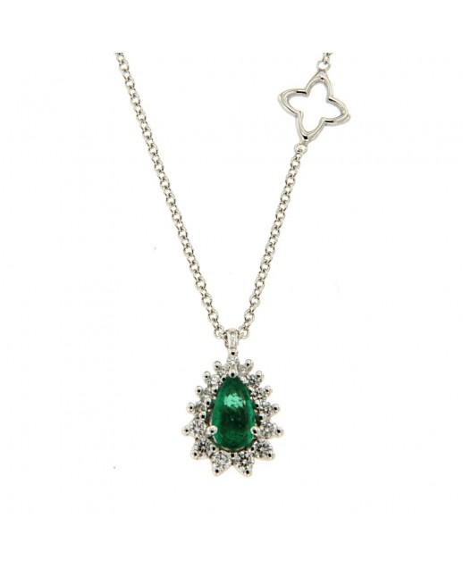 Girocollo con Smeraldo 0,21 ct e diamanti