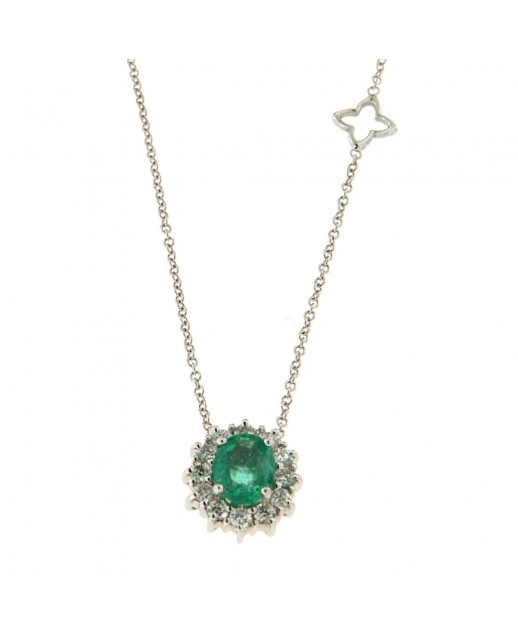 Girocollo con Smeraldo 0,79 ct e diamanti
