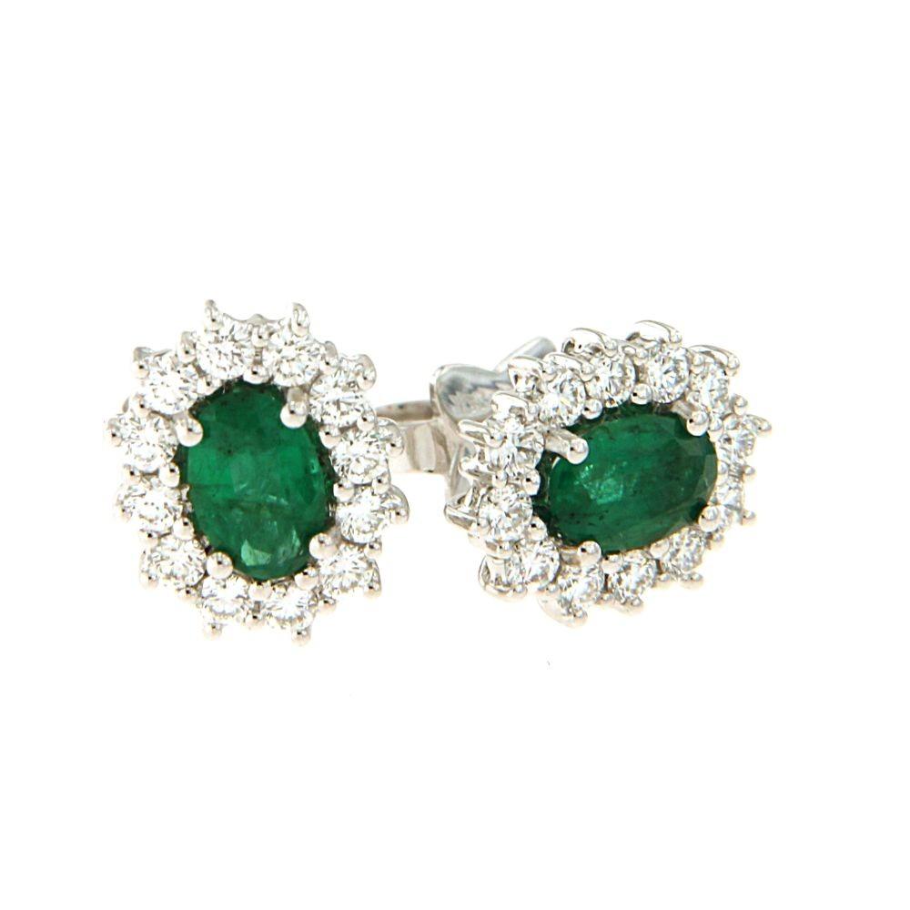 Orecchini con smeraldi 0,87 ct e diamanti