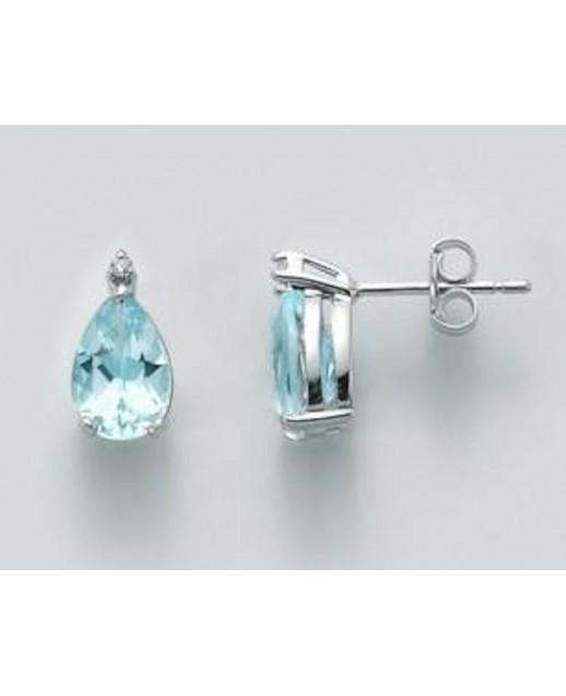 Orecchini con Acquamarina e diamanti 0,14 ct