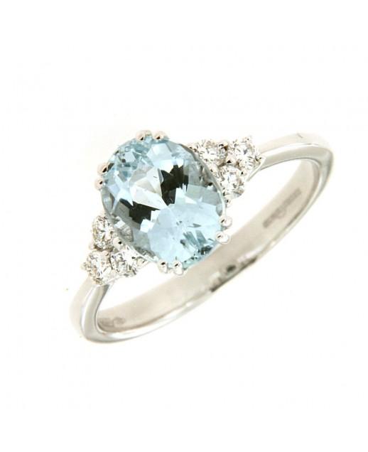 Anello Acquamarina 1,76ct e diamanti 0,24ct