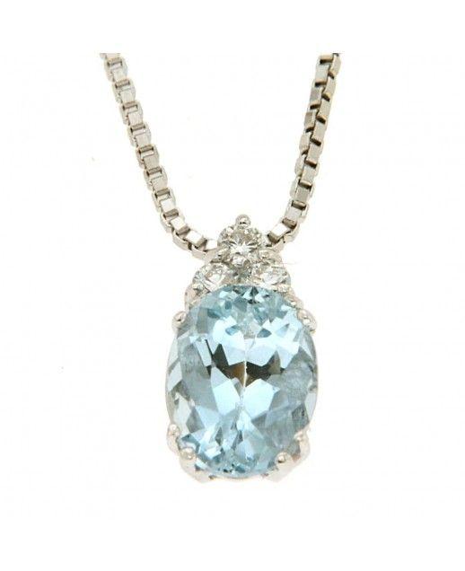 Girocollo Acquamarina 1,21 ct e diamanti 0,09 ct