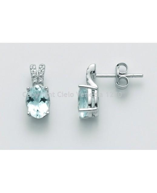 Orecchini con Acquamarina e diamanti 0,048 ct