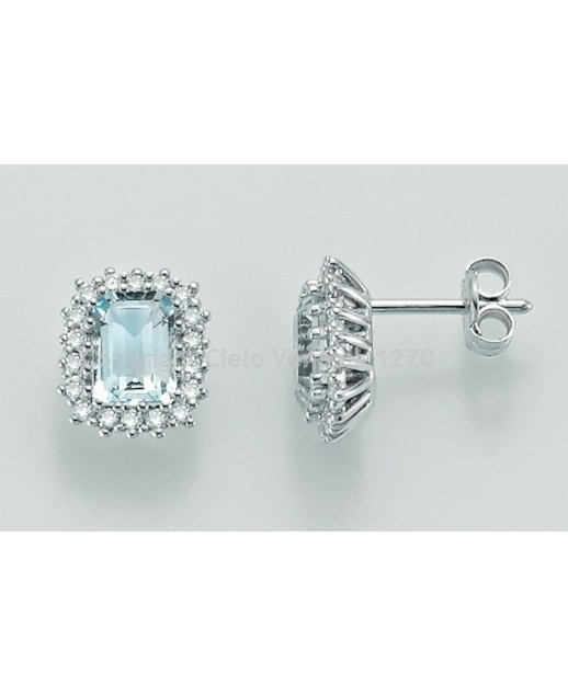 Orecchini Acquamarina e diamanti 0,324 ct