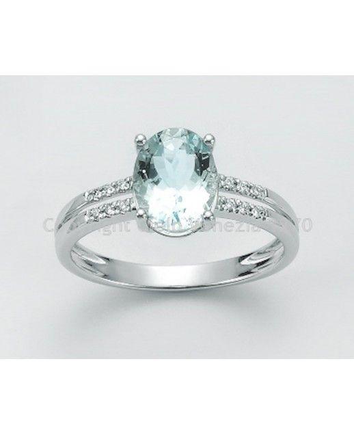 Anello Acquamarina e diamanti 0,048 ct