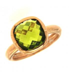 Anello Argento Quarzo Verde