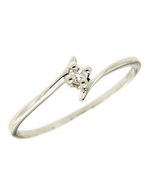 Solitario Oro bianco e diamanti 0,04ct