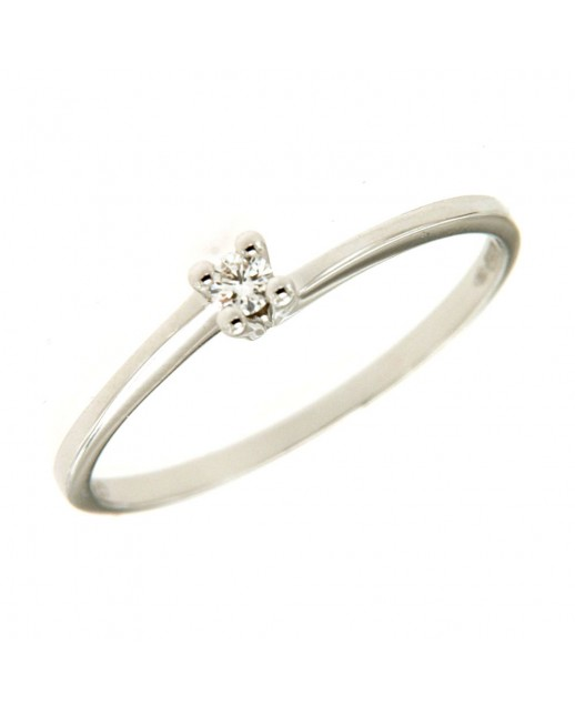 Solitario Oro bianco e diamanti 0,05ct