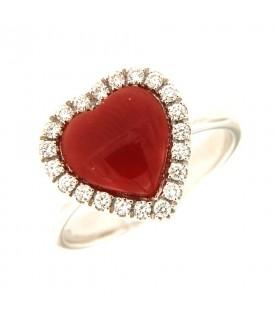 Anello Cuore Corallo Rosso...