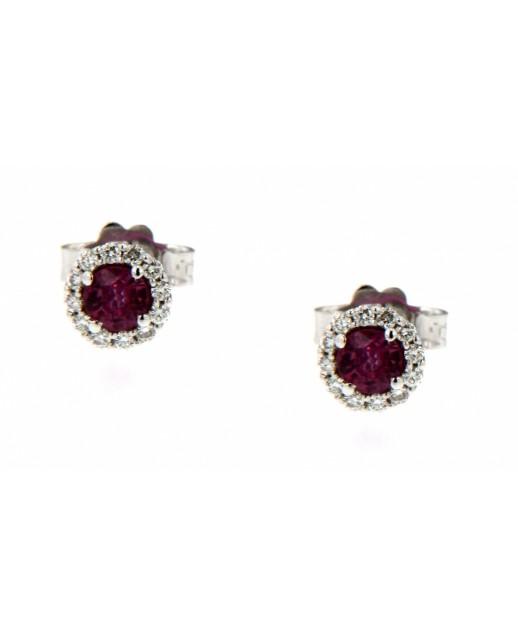 Orecchini rubini 0,12 CT e diamanti 0,10 CT