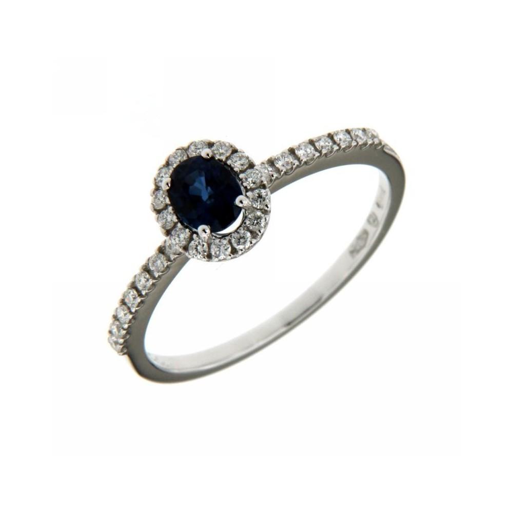 selezione migliore f87cb e2205 Anello Diamanti 0,18 ct e Zaffiri 0,50 ct