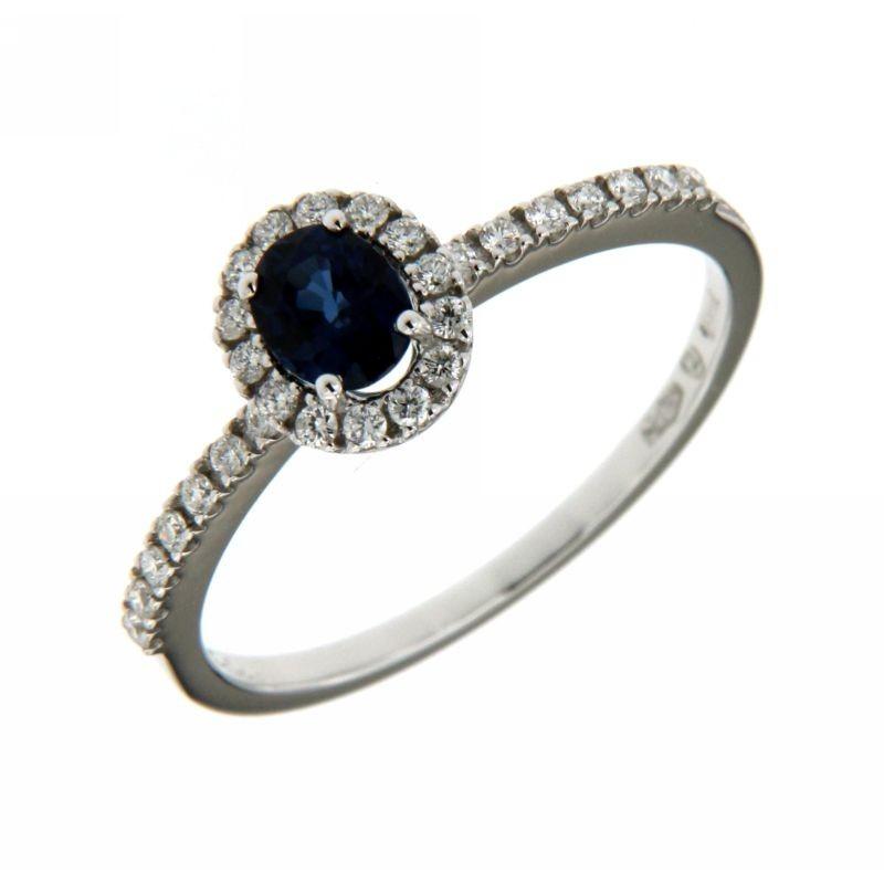 Anello Diamanti 0,18 ct e Zaffiri 0,50 ct