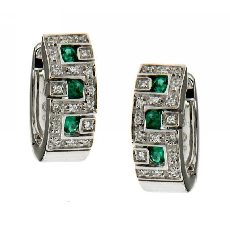 Orecchini con smeraldi e diamanti 0,12ct