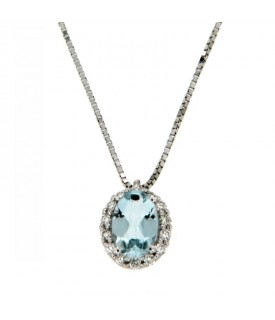 Collana Acquamarina 0,28 ct Diamanti 0,08 ct