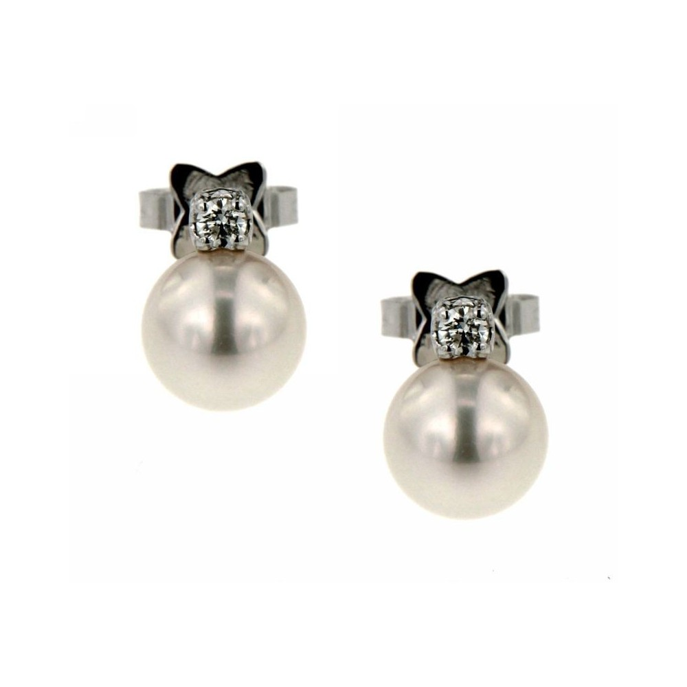 Orecchini Diamanti 0,08 ct Perle 7mm