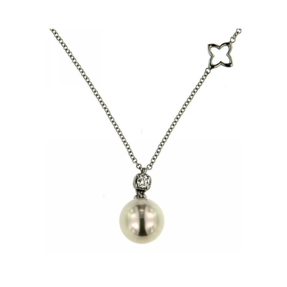 Collana Diamante 0,08 ct Perla 8mm