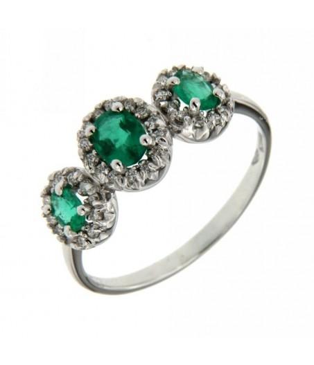 Anello Trilogy Smeraldi  0,59 ct e Diamanti 0,20 ct