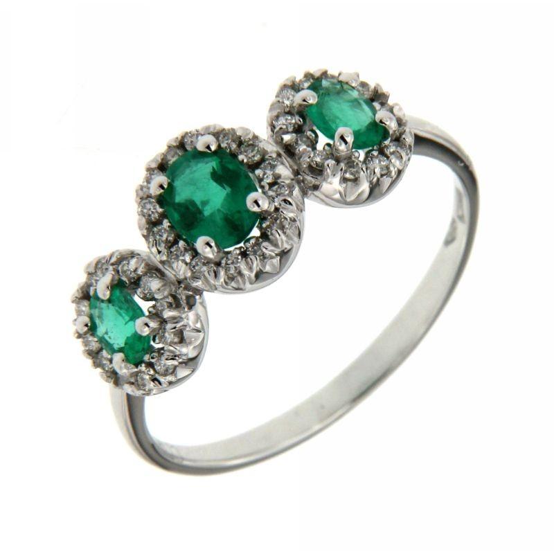 Anello Trilogy Smeraldi  0,63 ct e Diamanti 0,20 ct