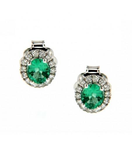 Orecchini Diamanti 0,19 ct e Smeraldi 0,70 ct